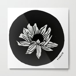 Sunflower: a minimal black and white painting by Alyssa Hamilton Art Metal Print