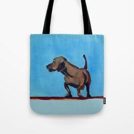 Doxie Dog in Red White and Blue Tote Bag