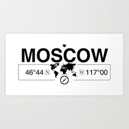 Moscow Idaho Map GPS Coordinates Artwork with Compass Art Print