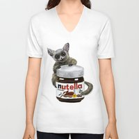 nutella V-neck T-shirts featuring Sweet aim // galago and nutella by Anna Shell