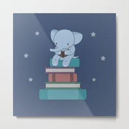 Kawaii Elephant Reading Books Metal Print