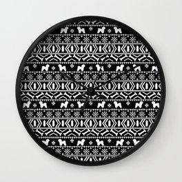 Bichon Frise christmas fair isle black and white dog silhouette minimal winter sweater holiday Wall Clock