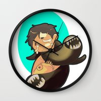 castiel Wall Clocks featuring Castiel by oh, wolves