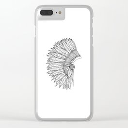 Native Feather Headdress - ink illustration Clear iPhone Case