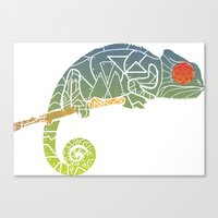 chameleon Canvas Prints featuring Chameleon by soy_cocon