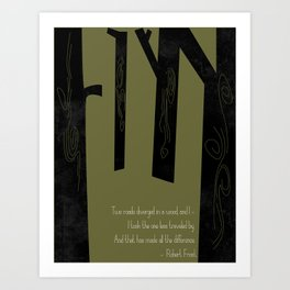 Robert Frost Road Not Taken  Art Print