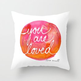You Are Loved Inky Dot by Lara Cornell Throw Pillow