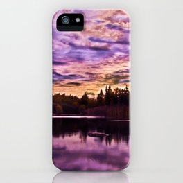 Surreal Purple Clouds Reflecting on Calm Water iPhone Case