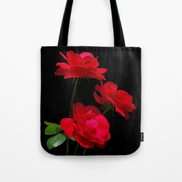 Red roses on black background Tote Bag