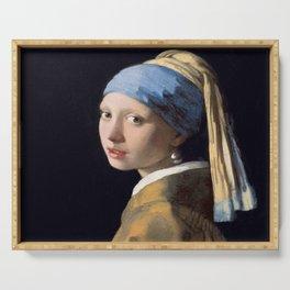 Vermeer, Girl with a Pearl Earring,Meisje met de parel,La joven de la perla Serving Tray