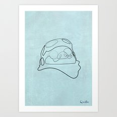 One line Porco Rosso (blue) Art Print