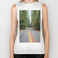 giants Biker Tanks featuring Avenue Of The Giants by Kim Ramage