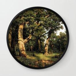 Oak Grove, 1887 (oil on canvas), Shishkin, Ivan Ivanovich Wall Clock