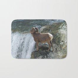 Big Horn Sheep & Rocky Mountain Waterfall Bath Mat