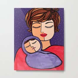 Mother and Baby - Short Brown Hair Metal Print