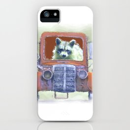Raccoon Driving Old Red Truck iPhone Case