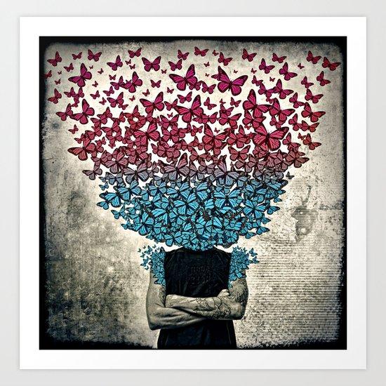 Butterflies In my head. Art Print