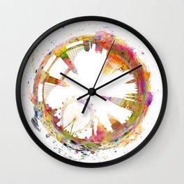 Abstract London skyline watercolors art Wall Clock