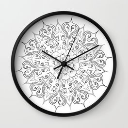 hand drawn lines mandala Wall Clock