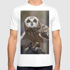 Short Eared Owl White Mens Fitted Tee MEDIUM