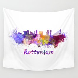Rotterdam skyline in watercolor Wall Tapestry