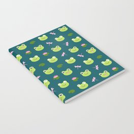 Frogs, Dragonflies and Lilypads on Teal Notebook