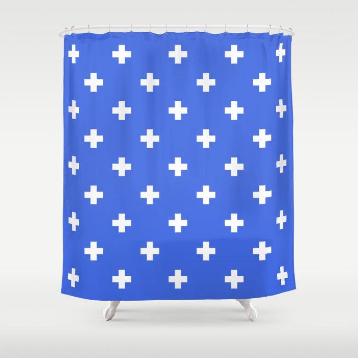 royal blue shower curtain. Swiss cross pattern on royal blue Shower Curtain by myhomedecor