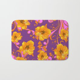 TROPICAL YELLOW & GOLD AMARYLLIS FLOWERS PATTERN Bath Mat