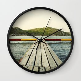 Pier in Caribbean lake Wall Clock