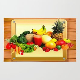 Colorful Fruits on a Wooden Frame Rug