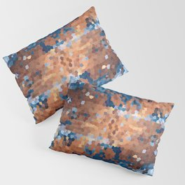 Copper and Denim Abstract Pillow Sham