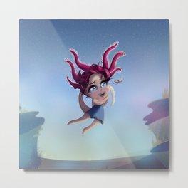 Axolotl Girl in the Sea Metal Print