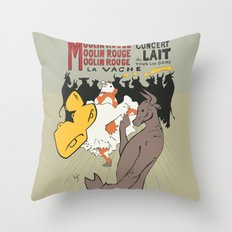 Moolin Rouge - This Cow Can Can Can Throw Pillow