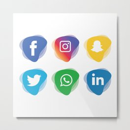 social media Whatsapp instagram facebook snapchat linkdn twitter Metal Print