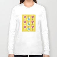 scandinavian Long Sleeve T-shirts featuring Scandinavian inspired flower pattern - yellow background by Hello Olive Designs