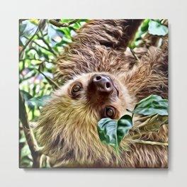 Painted Sloth Metal Print