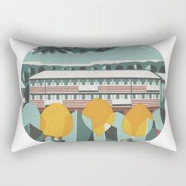 Vintage Minimalist Scene / 60s Style Illustration Art Rectangular Pillow