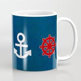 Anchor Ship Wheel Pattern Coffee Mug
