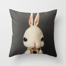 Mr Bunny loves donut Throw Pillow