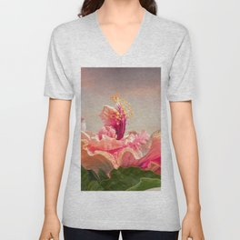 isolated hibiscus in bloom on tecture background Unisex V-Neck
