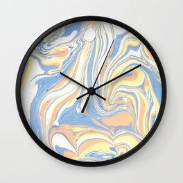 Blush yellow orange blue abstract watercolor marble Wall Clock