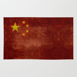 The National flag of the People's Republic of China in Vintage retro distressed texture form Rug