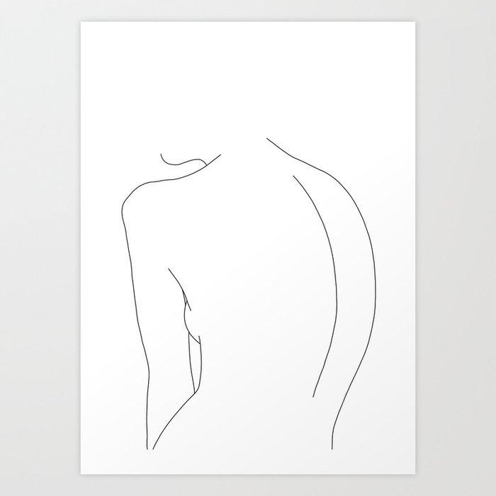 Minimal line drawing of women's body - Alex Kunstdrucke