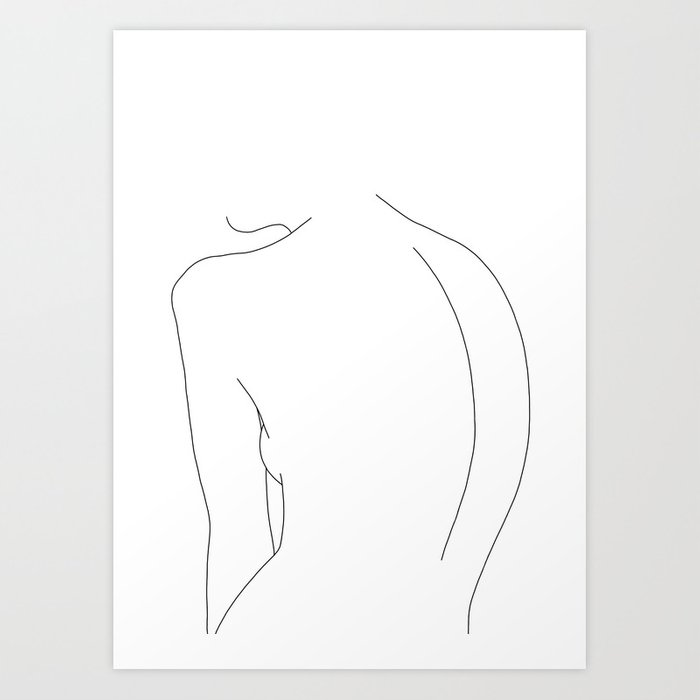 Minimal Line Drawing Of Women S Body Alex Art Print By Thecolourstudy Society6