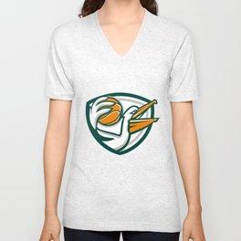 Pelican Dunking Basketball Crest Retro Unisex V-Neck