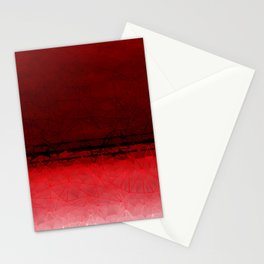 Deep Ruby Red Ombre with Geometrical Patterns Stationery Cards