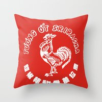 sriracha Throw Pillows featuring Sriracha  by www.bubthezombie.com