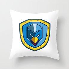Blue Chicken Mohawk Shield Icon Throw Pillow