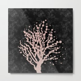Cherry blossom tree rose gold Metal Print