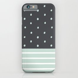 Mint Charcoal Polka Dots & Stripes iPhone Case